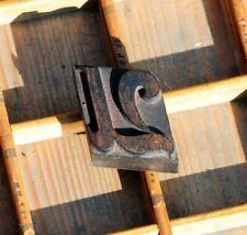 letter: U rare wood type letterpress printing block woodtype font antique print.