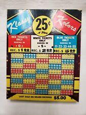 Vintage 1940s Punch Board Club Gambling Casino Game New Unpunched Klassy Kolors