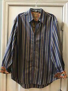 Robert Graham X-Large Blue/Beige Striped Multi-Color Cuff Button Front Shirt