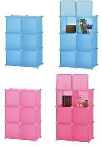 MODULAR STORAGE 6 BOXES BLUE / PINK WITH DOORS STORAGE CLOSET DISPLAY ORGANISER
