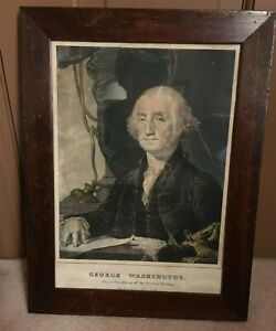 "N. Currier hand colored lithograph George Washington, period frame, 9 1/2""x14"","