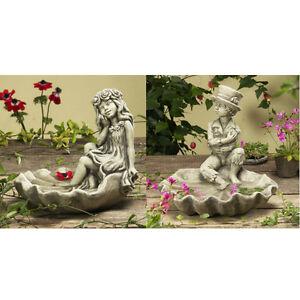 Vogeltränke Rosenmädchen Rosenjunge Gartenfigur Steinguss Gartendeko Deko Garten