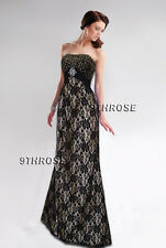 MAKE A STATEMENT! GOLD-BEADED BLACK LACE FORMAL/EVENING/PROM/BALL GOWN AU20/US18