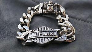 Herren Edelstahl Harley Davidson Biker Armband B&S Skull Schmuck 21.5 cm NEU