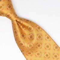 Josiah France Mens Silk Necktie Gold Orange Yellow Ornate Mosaic Weave Woven Tie