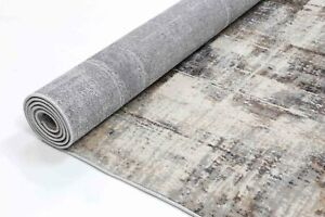 Drayton Abstract Artful Style Grey Beige Transitional Rug Runner 80x300cm **NEW*