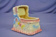Vintage Japan by Nancy Pew Baby Musical Samkyo Planter in shape of Bassinet Crib