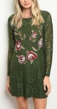 Women's Long Sleeve Lace Floral Embroidered Crochet Evening Shift Dress Dressy