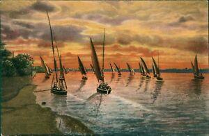 Original Vintage Arabic Postcards Egypt, 1022 Cairo Sunset on the Nile