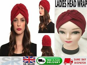 NEW TURBAN STYLE Head Wrap Head cover Hat Bandana Scarf Hair Loss Cap Chemo UK