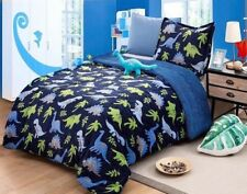 DINOSAURS KIDS BOYS BLANKET/COMFORTER WITH SHERPA VERY SOFTY AND WARM 3PCS TWIN