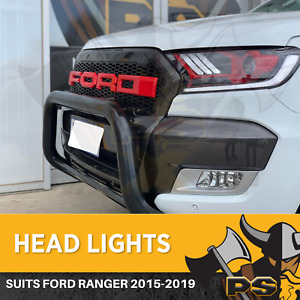 Headlights to suit Ford Ranger 2015-2019 MK2 Angel Eye Projector LED Head Lights