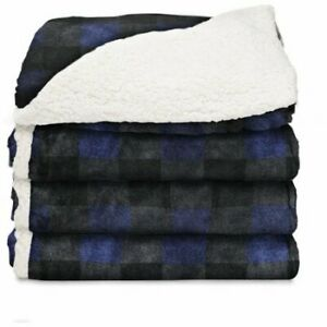 Electric Heated Blanket Throw Reversible Microplush,Blue Buffalo Plaid