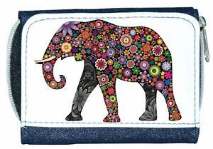 Beautiful Girl/Lady Denim Purse With Unusual Colourful Flower ELEPHANT