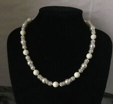 18 Inches Necklace made with Swarovski Crystal Pearls and Silver Plated Beads