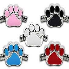 5PCs Mixed Enamel Dog's Paw Beads Fit European Charm Bracelet