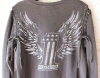 Rare! HARLEY-DAVIDSON Distress Fade Lace-Up Cut-Out Off-Shoulder Sweatshirt XL
