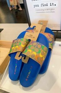 NWT Coach Unisex Uli Sport Slide In Rainbow Signature Canvas slipper