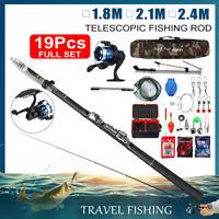 1.8M/2.1M/2.4M Telescopic Fishing Rod Reel Spinning Reel Line Spool Full Kit