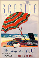 Seaside Kodak Waiting for you Train Travel Deco  Poster Print