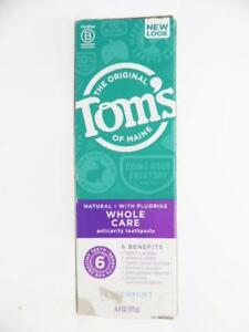 Tom's of Maine, Whole Care Toothpaste Peppermint, Natural Anticavity 4 oz.