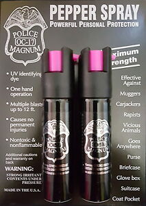 2 PACK Police Magnum pepper spray 3/4oz HP Safety Lock Defense Security