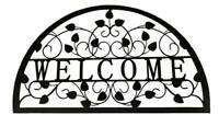 Black Metal Welcome Wall Art Laser Cut Leaf Outdoor Home Garden Sculpture 88cm