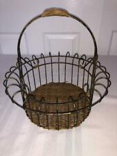 Decorative Basket Black and Gold Wire and Wicker Round with Handle Home Decor
