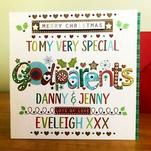 Godparents Christmas card, Personalised special Christmas card for Godparents