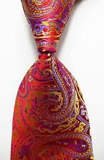 New Classic Paisley Red Purple Gold JACQUARD WOVEN 100% Silk Men's Tie Necktie
