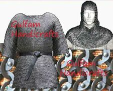 MS Chain Mail Shirt And Coif Free 9 mm Flat Riveted Ring W/ Solid Ring XXL size