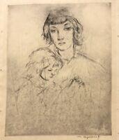 WILLIAM MEYEROWITZ (1887-1981) JEWISH JUDAICA UNTITLED ETCHING MOTHER & CHILD