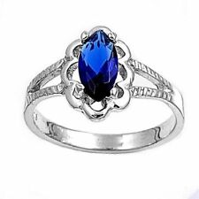 Baby, Kids, Girl's Sterling Silver Ring Blue Sapphire colored CZ Size 1,2,3,4,5