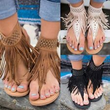 Women Gladiator Sandals Shoes Thong T Strap Fringe Tassels Flat Flip Flops Toe