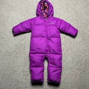 Columbia Baby Toddler Girl's 12-18 Months Down Bunting Snowsuit Bright Purple