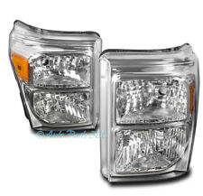 11-16 FORD F250 F350 F450 F550 SUPER DUTY REPLACEMENT HEADLIGHT LAMP CHROME PAIR