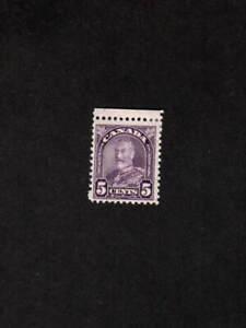 CANADA MINT VLH 5 CENT DULL VIOLET KING GEORGE V LEAF STAMP SCOTT # 169