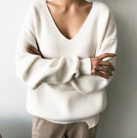 Women Sweater V Neck Loose Knitwear Pullover Jumper Long Sleeve Cashmere Tops