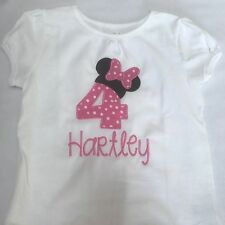personalized embroidered minnie mouse birthday shirt/pink birthday bow shirt