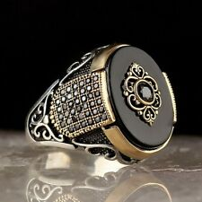 Turkish 925 Sterling Silver Popular black onyx stone mens man ring ALL SİZE usa