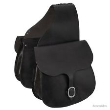 Western Saddle Bags - Black Leather