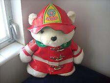 "Vintage 1996 Santa bear Plush White Bear 18"" Fireman Firefighter Hudson Santa"