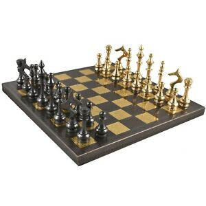 "Soviet Brass Metal Luxury Chess Pieces & Board Set - 12"" - Steel Grey & Gold"