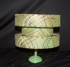 "RARE VTG 50s 60s MID CENTURY MODERN GREEN 3 TIERED DRUM FIBERGLASS 7"" LAMP SHADE"