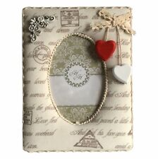 """Angel Padded Sculpture Shabby Chic Free Standing 5.5""""x3.5"""" Oval Photo Pic Frame"""