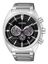 Citizen Eco-Drive Mens Stainless Steel Chronograph. Classic Elegance. CA4280-53E