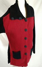 Vtg Woman L Color Block Sweater Coat Red Black Margaret Winters New York Label