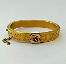 Antique Victorian Era Etruscan Revival Satin Finish Gold Filled Bangle Bracelet