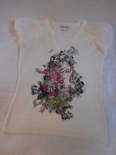 Alberto Makali Knit Top Misses L White Colorful Beading Floral Sheer Sleeve Poly