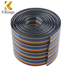 1M 3.3ft 40 Way 40 pin Flat Color Rainbow Ribbon IDC Cable Wire Rainbow Cable K